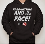 AMTV Black Hoodie HARD-HITTING AND IN YOUR FACE! Rugged look with AMTV Logo