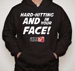 AMTV Black Hoodie HARD-HITTING AND IN YOUR FACE! Solid font with AMTV Logo