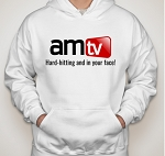 AMTV White Hoodie - AMTV Logo with Hard-Hitting Tag