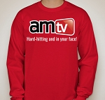AMTV Red Long Sleeve Shirt - AMTV logo with Hard-Hitting tag