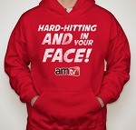 AMTV Red Hoodie HARD-HITTING AND IN YOUR FACE! Rugged look with AMTV Logo