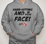 AMTV Grey Hoodie - HARD-HITTING AND IN YOUR FACE! Rugged look with AMTV Logo