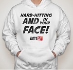 AMTV White Hoodie - HARD-HITTING AND IN YOUR FACE! Rugged look with AMTV Logo