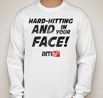 AMTV White Long Sleeve Shirt - HARD-HITTING AND IN YOUR FACE! Rugged look with AMTV Logo