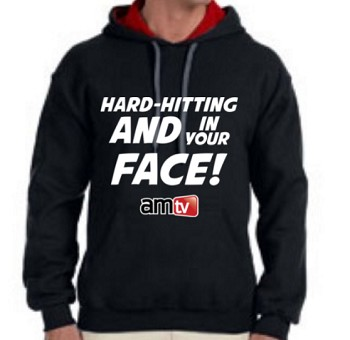 AMTV Contrast Black Red Hoodie HARD-HITTING AND IN YOUR FACE! Solid font with AMTV Logo