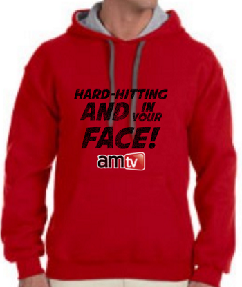 AMTV Contrast Red Grey Hoodie HARD-HITTING AND IN YOUR FACE! Rugged look with AMTV Logo