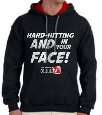 AMTV Contrast Black Red Hoodie HARD-HITTING AND IN YOUR FACE! Rugged look with AMTV Logo