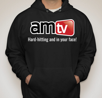 AMTV Black Hoodie - AMTV Logo with Hard-Hitting Tag