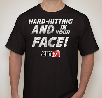 AMTV T-Shirt Black - HARD-HITTING AND IN YOUR FACE! Rugged look with AMTV logo