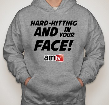 AMTV Grey Hoodie - HARD-HITTING AND IN YOUR FACE! Solid font with AMTV Logo