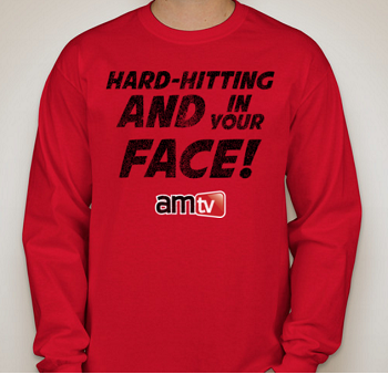 AMTV Red Long Sleeve Shirt - HARD-HITTING AND IN YOUR FACE! Rugged look with AMTV Logo