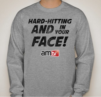 AMTV Grey Long Sleeve Shirt - HARD-HITTING AND IN YOUR FACE! Rugged look with AMTV Logo