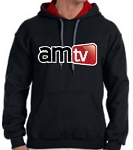 AMTV Contrast Black Red Hoodie Rugged Logo