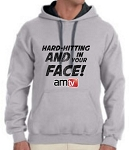 AMTV Contrast Grey Black Hoodie HARD-HITTING AND IN YOUR FACE! Rugged look with AMTV Logo