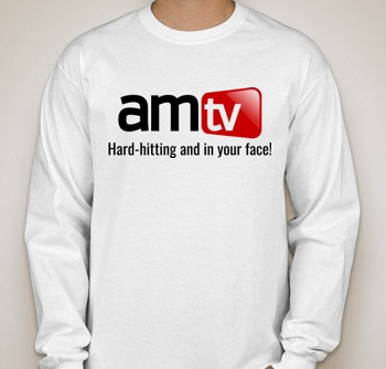 AMTV White Long Sleeve Shirt - AMTV Logo with Hard-Hitting Tag
