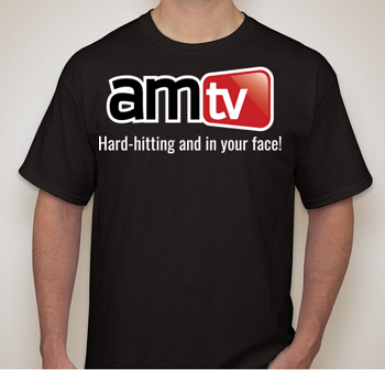 AMTV Logo Black Shirt with Hard-Hitting tag