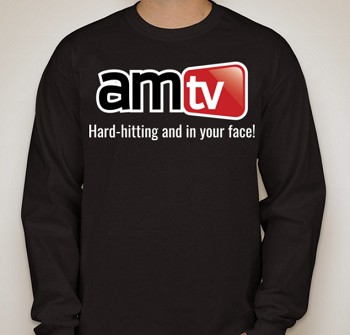 AMTV Black Long Sleeve Shirt - AMTV logo with Hard-Hitting tag